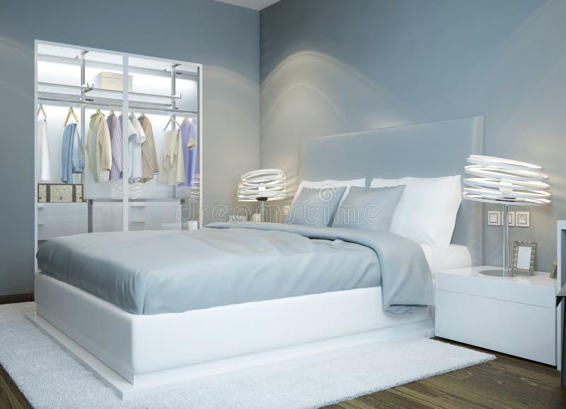 斯堪的纳维亚卧室设计 库存例证