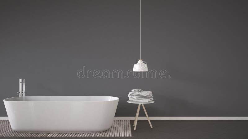 斯堪的纳维亚卫生间背景、浴缸、桌和灯在她 向量例证