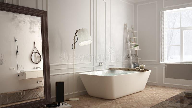 斯堪的纳维亚卫生间,白色minimalistic设计,旅馆温泉reso 库存照片