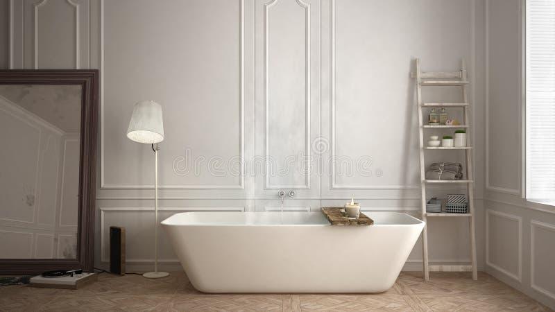 斯堪的纳维亚卫生间,白色minimalistic设计,旅馆温泉reso 免版税库存图片