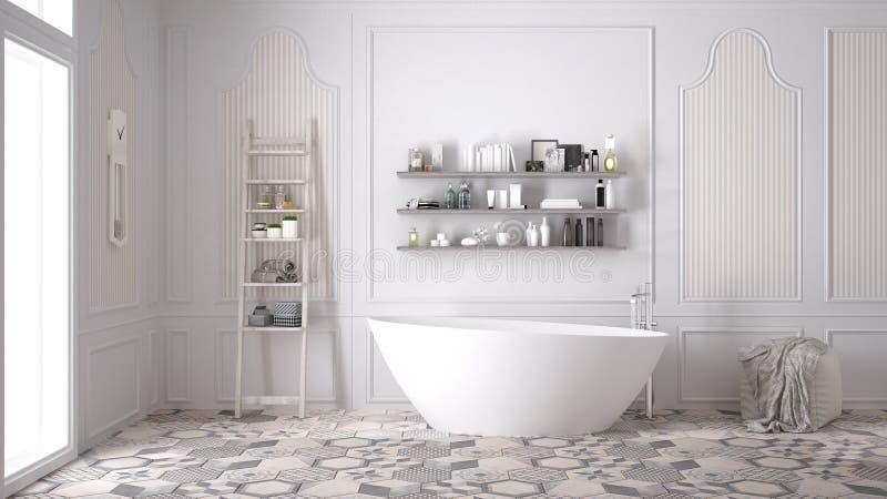 斯堪的纳维亚卫生间,经典白色葡萄酒室内设计 免版税库存图片