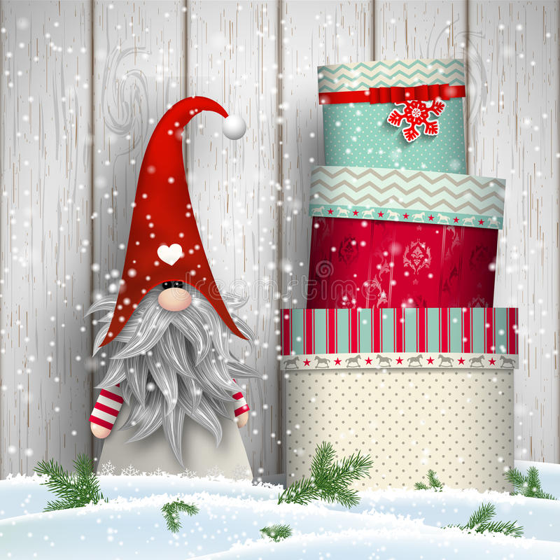 斯堪的纳维亚圣诞节传统地精, Tomte,与堆五颜六色的礼物盒,例证 库存例证