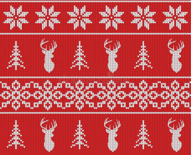 斯堪的纳维亚圣诞节冬天无缝的被编织的样式 顶头鹿剪影或驯鹿、雪花和圣诞树 向量例证
