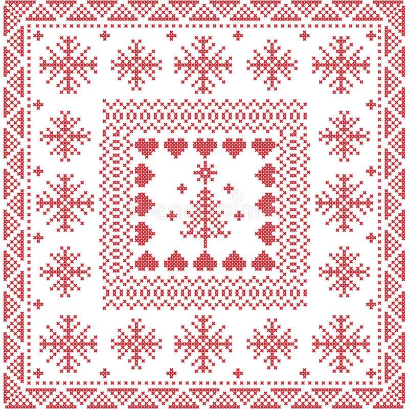斯堪的纳维亚样式北欧冬天针,在正方形的编织的无缝的样式,瓦片形状包括雪花,圣诞树 皇族释放例证