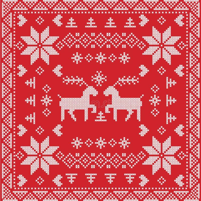斯堪的纳维亚样式北欧冬天针,在正方形,瓦片形状的编织的无缝的样式包括雪花,树,圣诞节 皇族释放例证