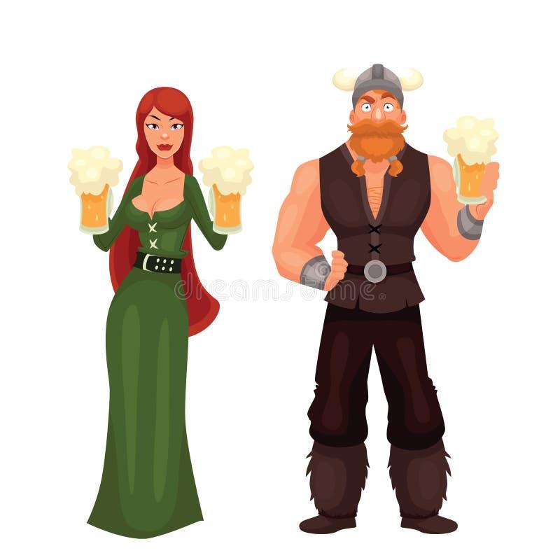 斯堪的纳维亚男人和妇女要求饮用啤酒 向量例证