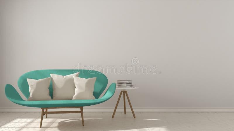 斯堪的纳维亚minimalistic背景,与在她的绿松石沙发 向量例证