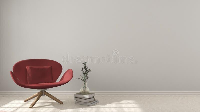 斯堪的纳维亚minimalistic背景,与在herri的红色扶手椅子 免版税库存照片