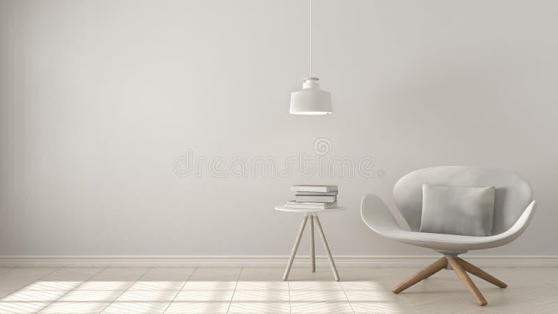 斯堪的纳维亚minimalistic背景,有桌的白色扶手椅子 皇族释放例证