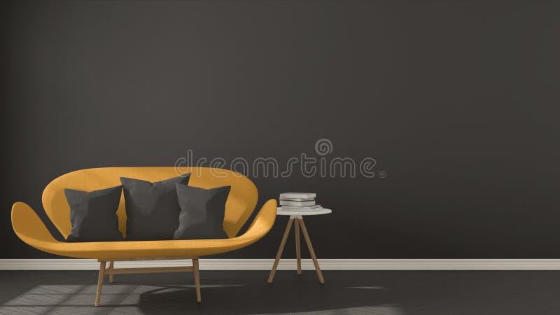 斯堪的纳维亚minimalistic黑暗的背景,与在h的橙色沙发 皇族释放例证