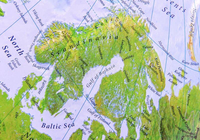 斯堪的那维亚关闭欧洲的地理地图零件  库存图片
