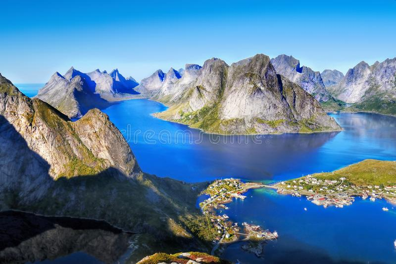 斯堪的那维亚,挪威,北欧坚固性风景, Lofoten海岛 免版税库存图片