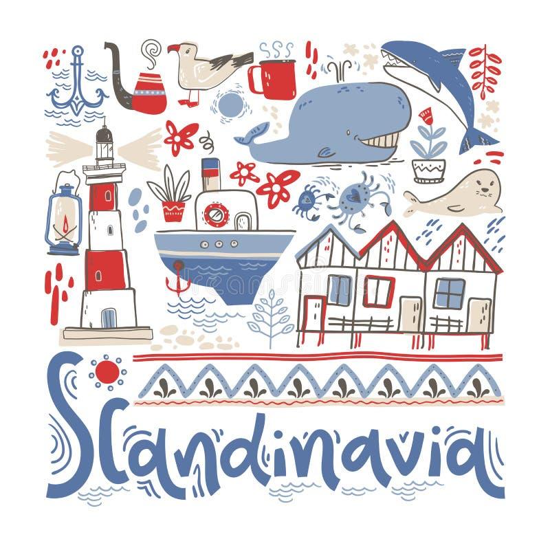 斯堪的那维亚 与设计元素的手字法在正方形 也corel凹道例证向量 库存例证