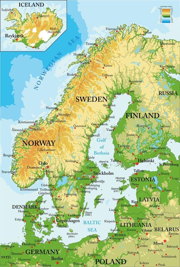 斯堪的那维亚物理地图 向量例证