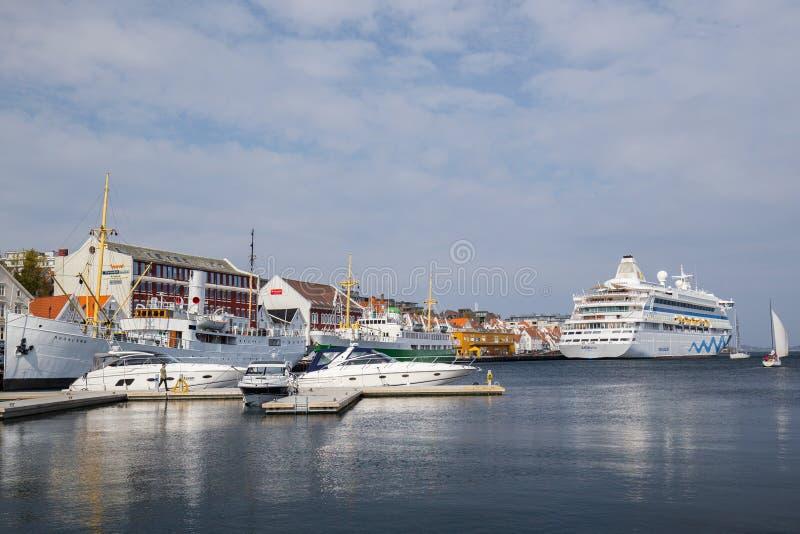 斯塔万格港口区域的看法,挪威 免版税图库摄影