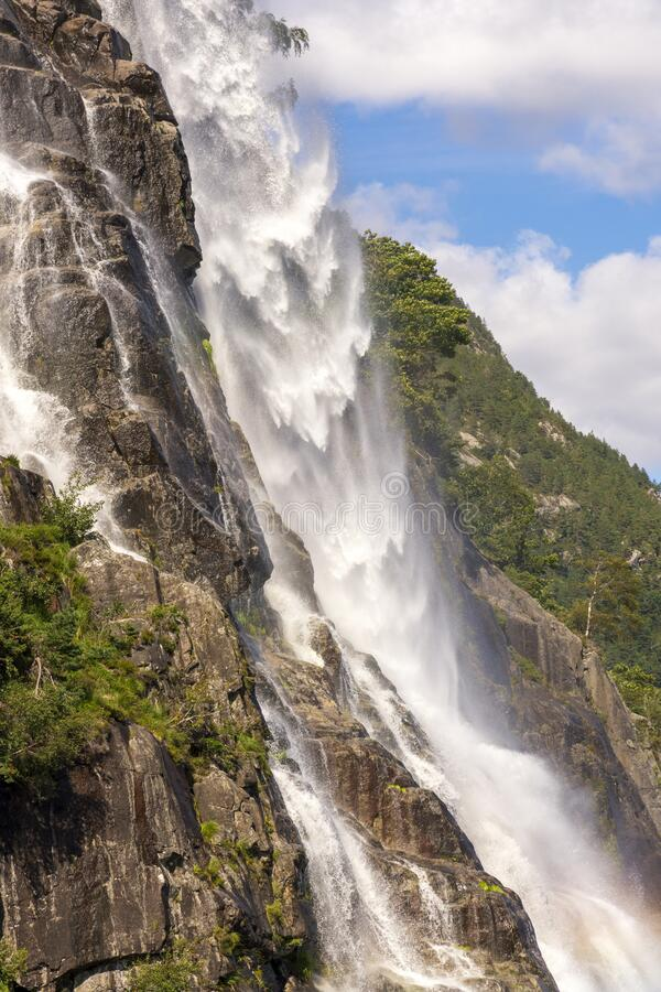 斯塔万格莱塞峡湾瀑布游 库存图片