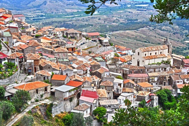 斯塔伊蒂村庄在雷焦卡拉布里亚省,意大利 免版税库存图片