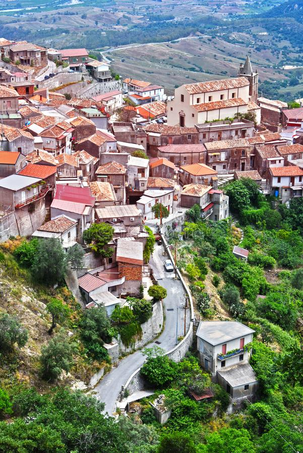 斯塔伊蒂村庄在雷焦卡拉布里亚省,意大利 库存图片