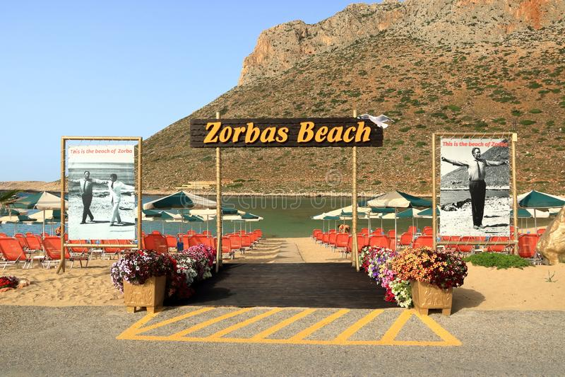 斯塔夫罗斯,克利特海岛/希腊- 2019年5月27日:从Zorba著名海滩的照片希腊语在克利特的斯塔夫罗斯 免版税库存照片