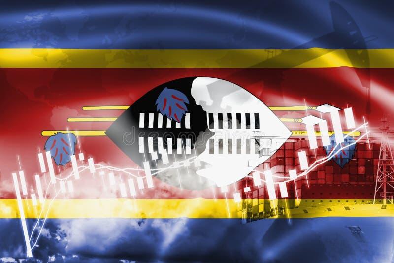 斯威士兰旗子、股票市场、交换经济和贸易,石油生产,在出口和进口业的集装箱船和 库存例证