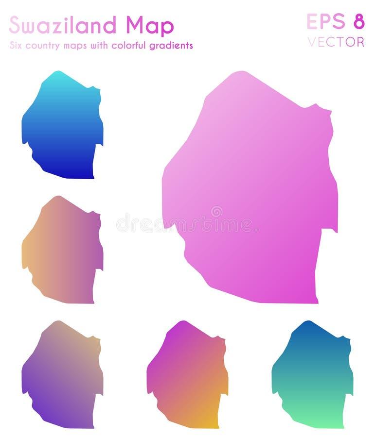 斯威士兰的地图有美好的梯度的 库存例证