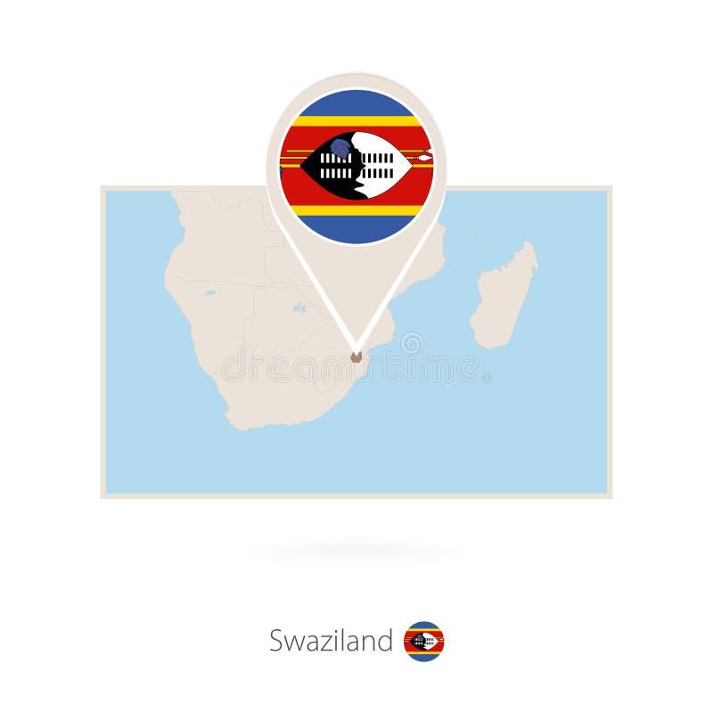 斯威士兰的长方形地图有斯威士兰的别针象的 皇族释放例证