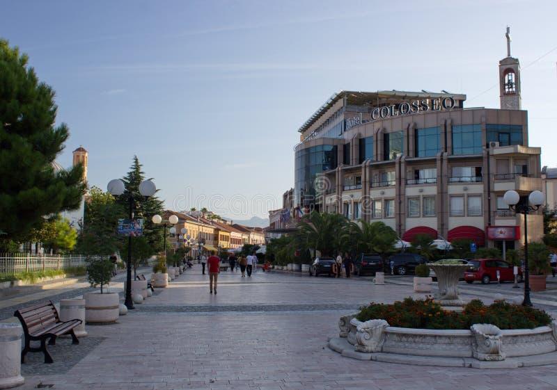 斯库台,阿尔巴尼亚的市中心早晨视图  免版税图库摄影