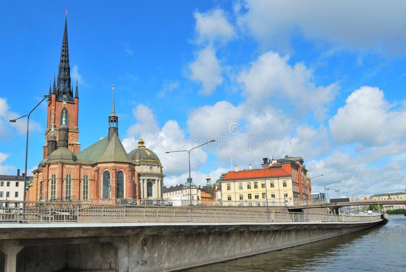 斯德哥尔摩。海岛Riddarholmen码头 库存图片