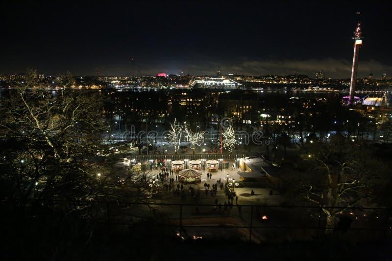 斯德哥尔摩在从Skansen看的晚上 skansen的入口 晚上斯德哥尔摩 库存图片