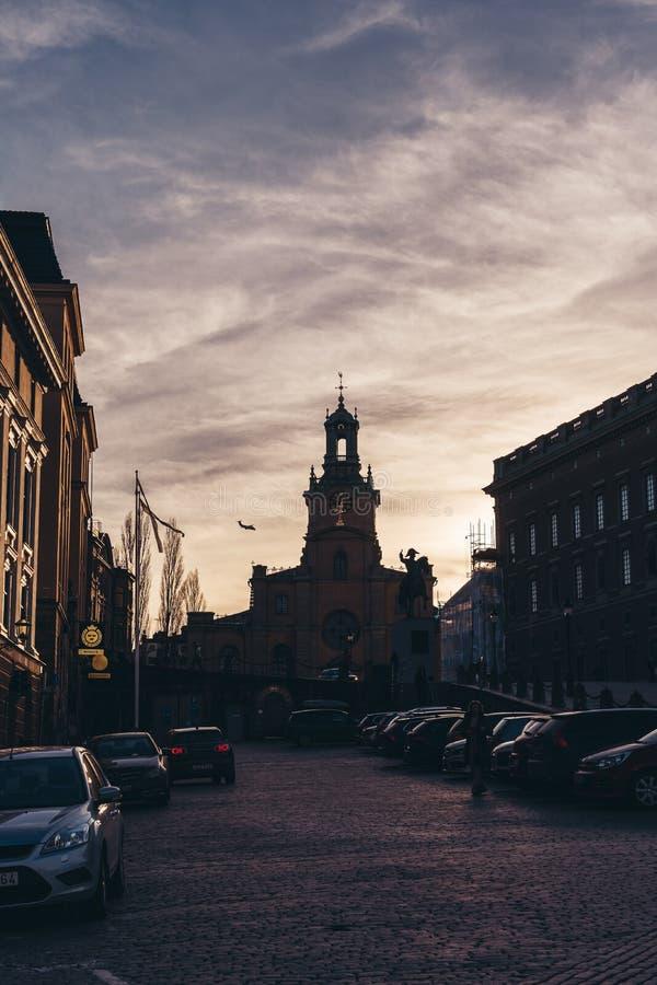 斯德哥尔摩奥斯陆王宫的瑞典斯德哥尔摩大教堂日落的 免版税图库摄影