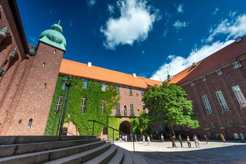 斯德哥尔摩市政厅在瑞典 图库摄影