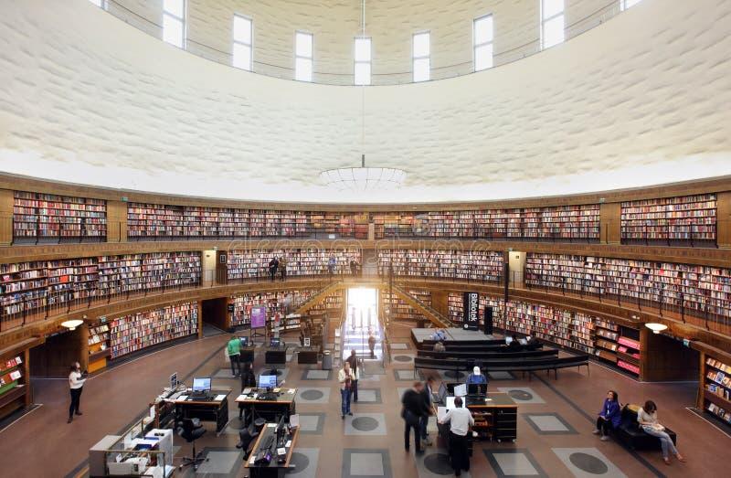 斯德哥尔摩市立图书馆内部  免版税图库摄影