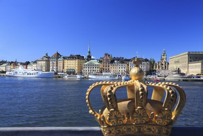 斯德哥尔摩的奥尔德敦Gamla斯坦地平线,瑞典风景看法  库存图片
