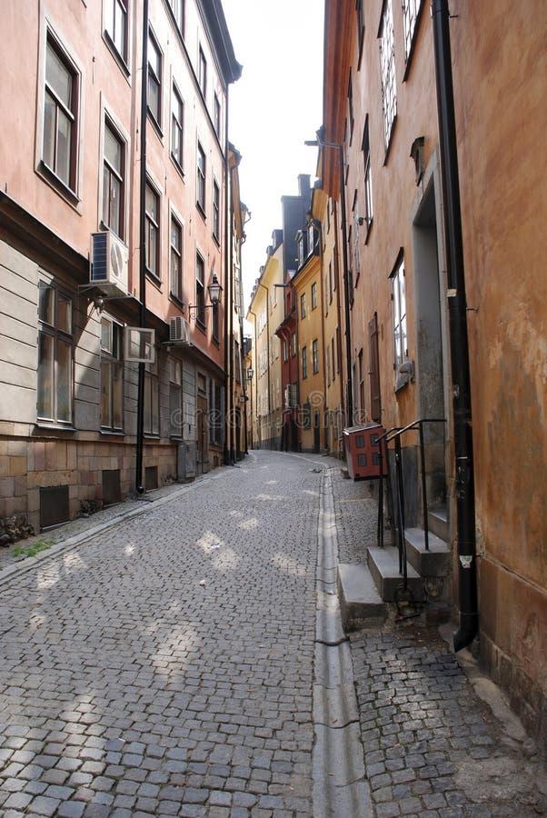 斯德哥尔摩离开的街道  库存照片