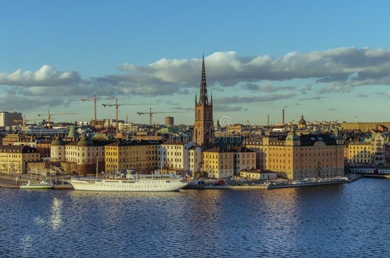斯德哥尔摩老镇全景 免版税库存照片