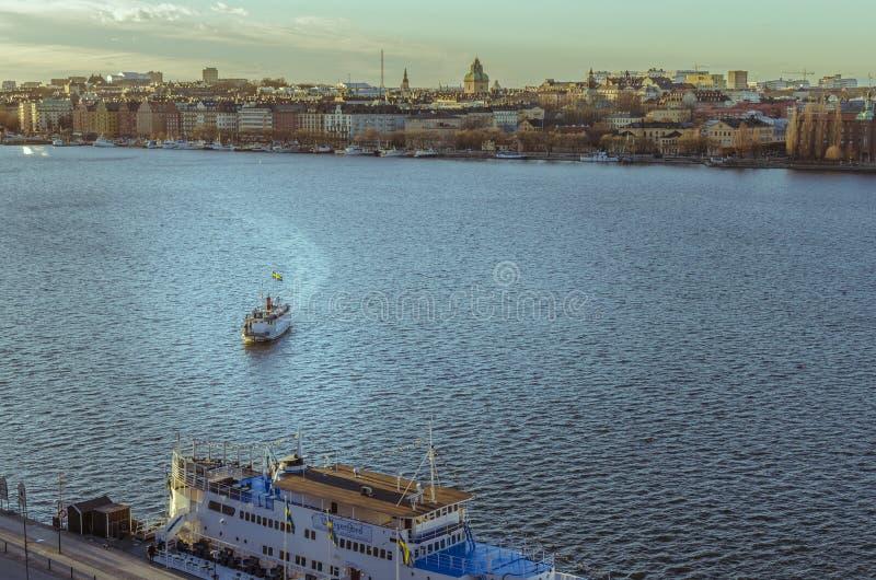 斯德哥尔摩老镇全景 免版税库存图片