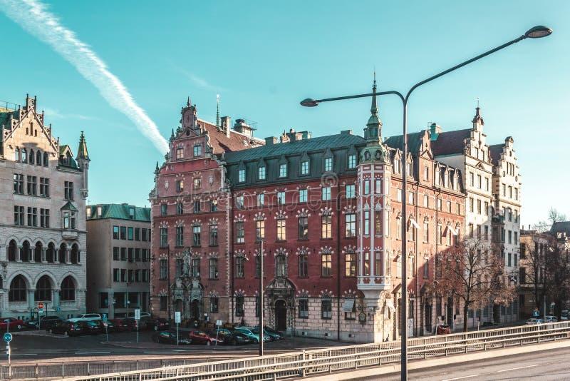 斯德哥尔摩,瑞典大厦和街道  免版税图库摄影