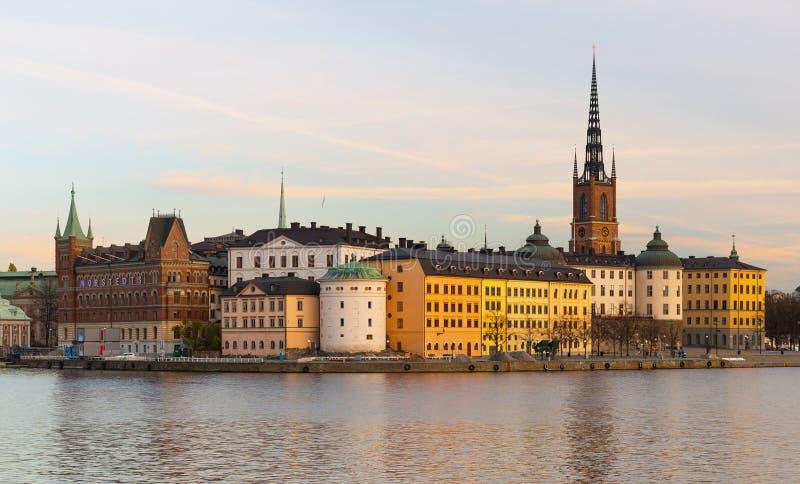 斯德哥尔摩,瑞典:晚上都市风景 免版税库存照片