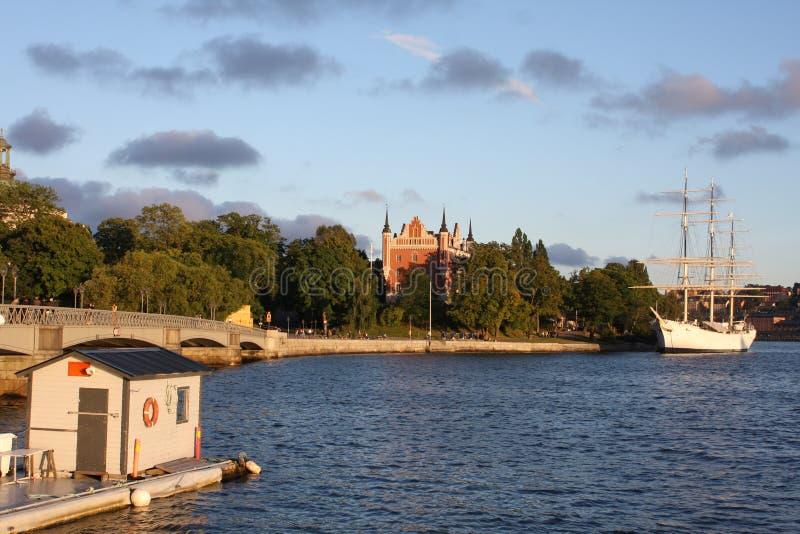 斯德哥尔摩,瑞典:4月1日 2017 - 老镇Gamla斯坦建筑学的全景在斯德哥尔摩,瑞典 免版税库存图片
