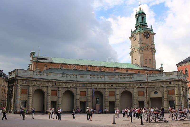 斯德哥尔摩,瑞典-大约2016年:皇家国王Palace在斯德哥尔摩,瑞典,这是顶面旅游胜地在城市 图库摄影