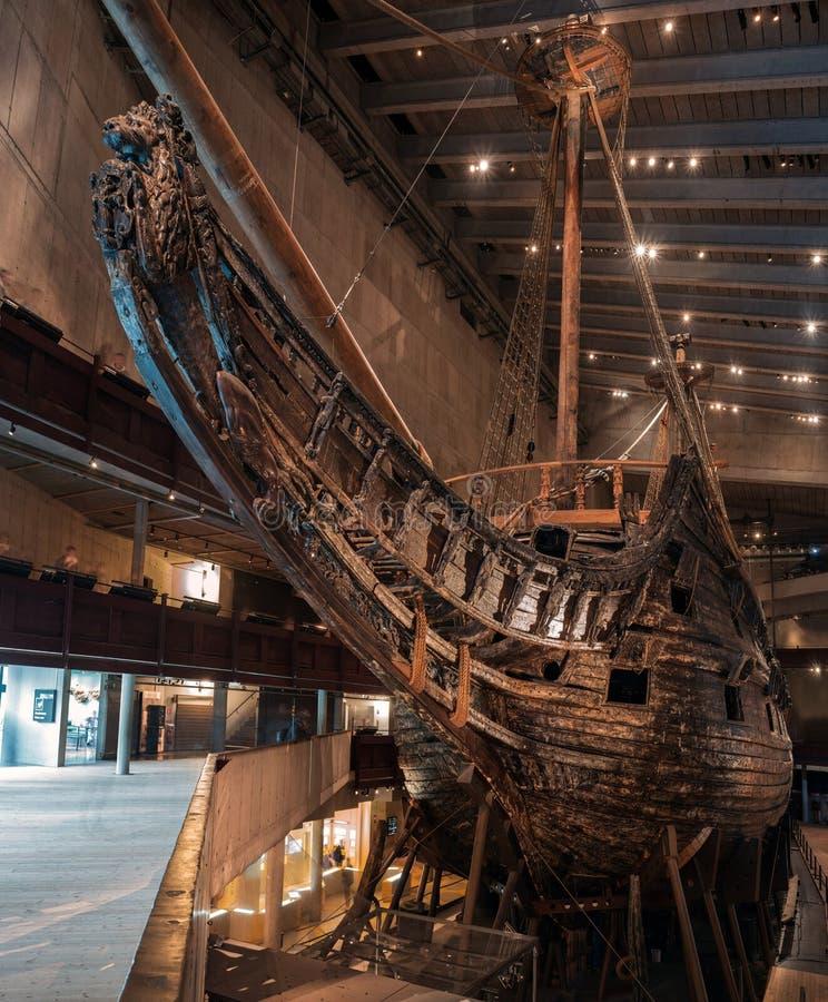 斯德哥尔摩,瑞典- 2019年4月20日:老帆船脉管 瓦萨沉船博物馆在斯德哥尔摩 船的弓 免版税库存照片