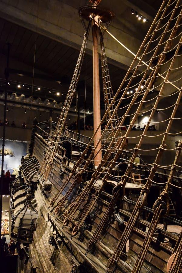 斯德哥尔摩,瑞典- 2017年12月31日 脉管博物馆和脉管瑞典军舰被制造在1626和1628之间 库存图片