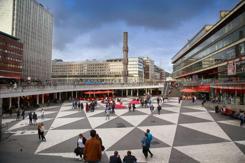 斯德哥尔摩,瑞典- 2016年8月19日:在Sergels的步行步行 库存照片
