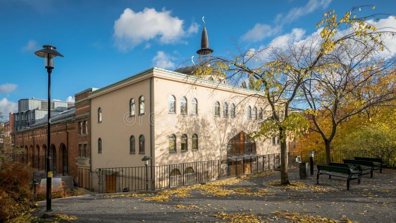 斯德哥尔摩,瑞典- 2016年10月28日:扎耶德・本・苏尔坦・阿勒纳哈扬` s清真寺,一般叫作斯德哥尔摩清真寺是最大的m 图库摄影