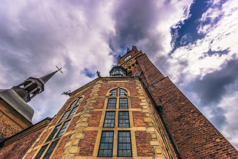 斯德哥尔摩- 2017年4月07日:Riddarholmen教会在斯德哥尔摩 库存图片