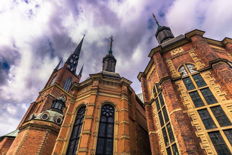 斯德哥尔摩- 2017年4月07日:Riddarholmen教会在斯德哥尔摩 图库摄影