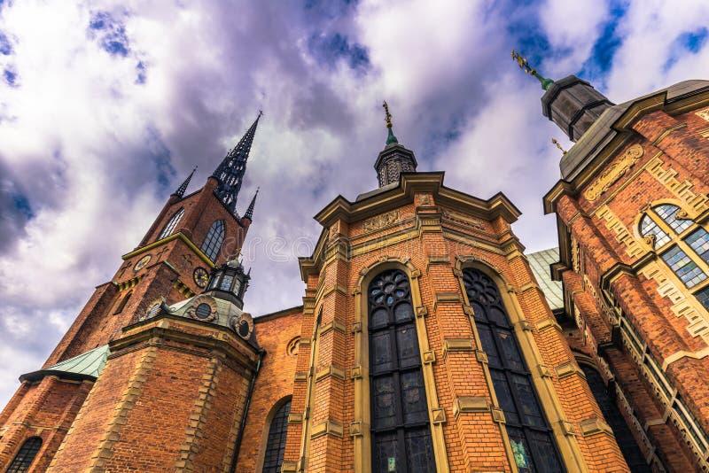 斯德哥尔摩- 2017年4月07日:Riddarholmen教会在斯德哥尔摩 免版税库存照片