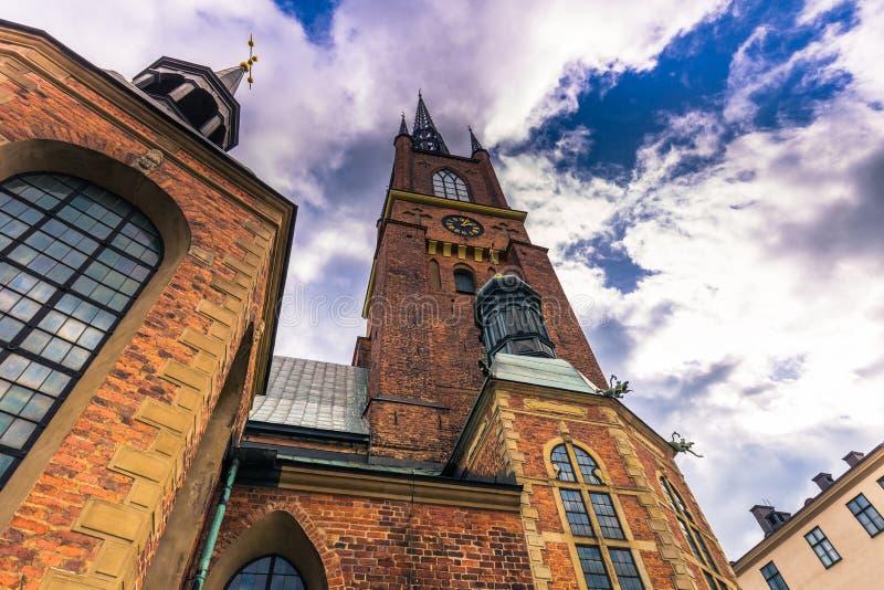 斯德哥尔摩- 2017年4月07日:Riddarholmen教会在斯德哥尔摩 免版税库存图片