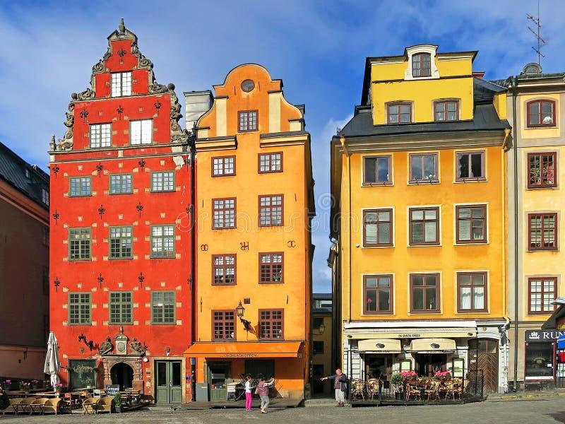 斯德哥尔摩 Gamla斯坦 Tae Schantz议院, Seyfridtz议院 免版税图库摄影