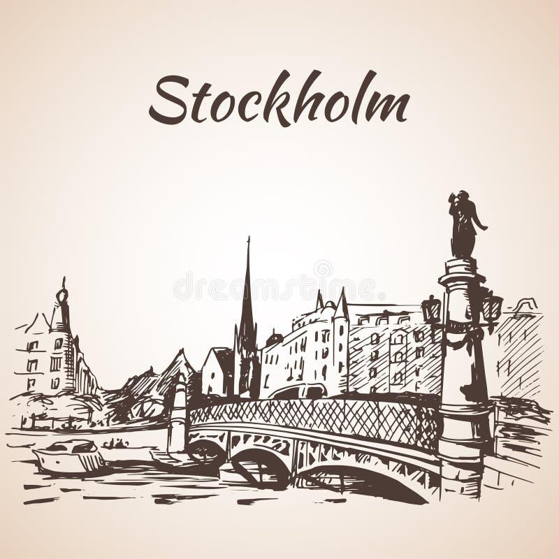 斯德哥尔摩sity与桥梁的街道视图 皇族释放例证